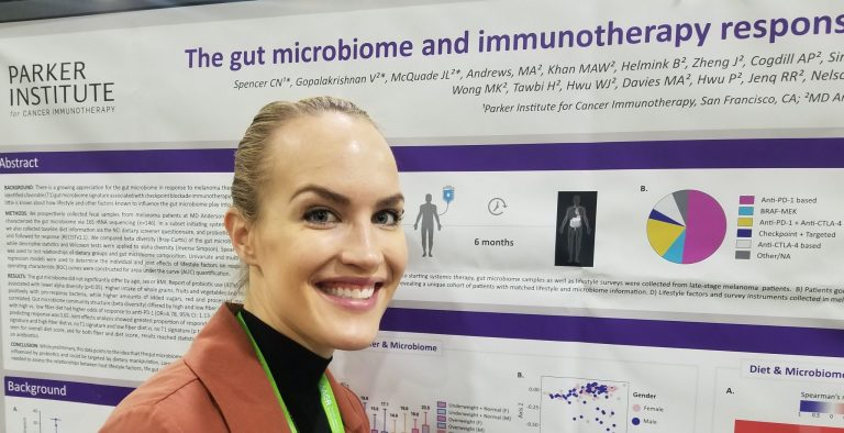 Christine Spencer microbiome poster closeup AACR 2019